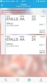 2 x Tickets for An Evening with Conor McGregor Glasgow