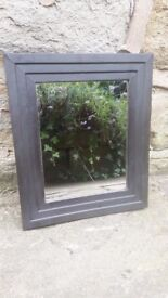 Small Vintage Shabby Chic Rectangular Wall Mirror Black Ribbed Frame Rustic