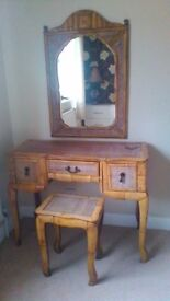 Bamboo Dressing Table with matching mirror and stool