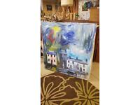 Very Large Oil On Canvas Abstract Multimedia Painting By Trust