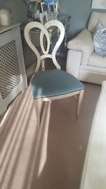 Decorative chair with heart shaped back silver distressed finish hand made in Italy