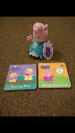 Peppa pig books and soft toy