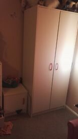 white wardrobe and bedside table for sale