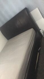 Double leather bed base