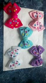 "4.5"" double hair bows. Great for dance shows. School"