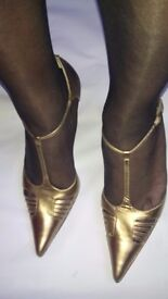 """Gold t strap shoes - Next. Pointed toe, cut out design Size 7 standard fit and 4"""" stiletto heels."""