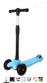 WeSkate Kick Scooter for Kids 3 Wheels, Adjustable Height Kids Scooter LED Light Flashing PU Wheels