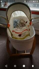 Mama's & Papa's moses basket with Hodge podge bedding & change mat