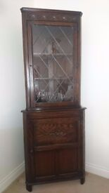 AS NEW JAYCEE OAK CORNER CUPBOARD, EXCELLENT CONDITION, COLLECTION ONLY.