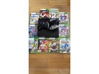Xbox 360 plus 2 controllers and 10 games