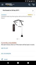 Heavy duty pull up bar with lat-pull and punch bag attachment
