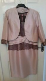 Dusky pink & taupe mother of the bride outfit, size 18, brand new, never worn