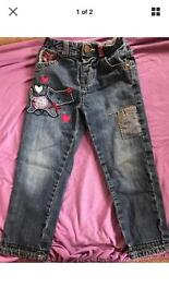 Girls Dog Print Jeans age 2-3years