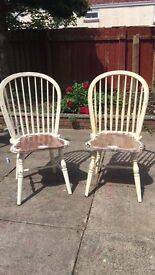 Two Laura Ashley wooden chairs