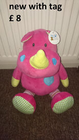 new with tag ! pink rhino soft toy