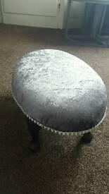 Grey crushed velvet foot stool