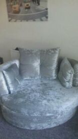 silver crush velvet sofa with foot stool and cuddle chair