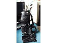 Golf bag, clubs and golf trolley