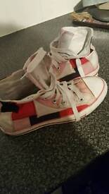 Patchwork converse high tops size 5