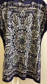 Navy beautiful printed top. Uk size 10. Worn once.