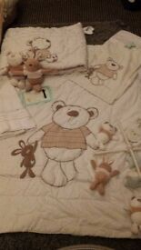 I love my bear nursery set curtains, quilt and bumper cot mobile and nappy stacker