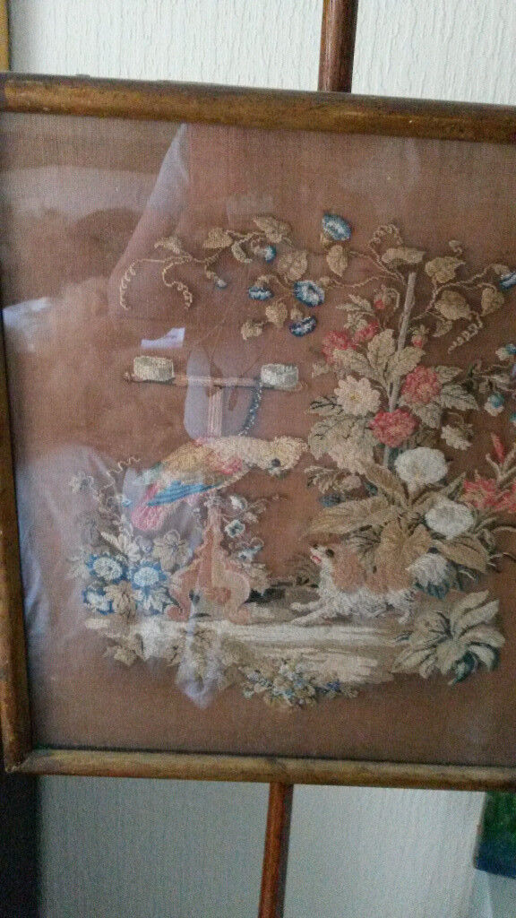 Antique George iii (1808) tapestry pole fire screen - charming dog & parrot scene from Tewkesbury