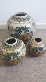 Ceramic Vases Pots Arthur Wood England Floral Chinese / Japanese Vintage ? 5 piece Set Joblot