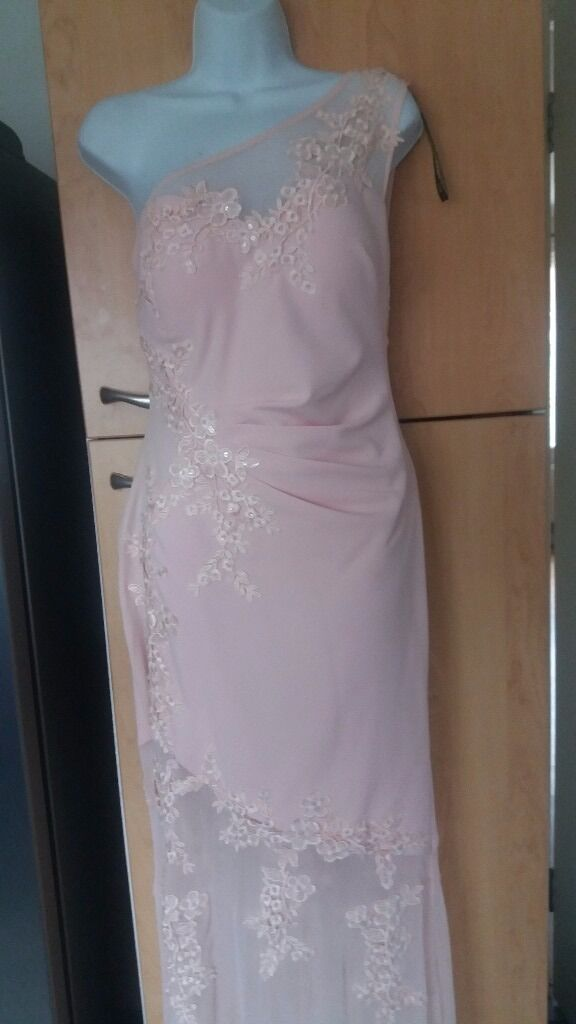LIPSY bridesmaid dress. Pale pink size 12in Worcester, WorcestershireGumtree - Pale pink LIPSY one shoulder dress. Size 12. Lace and sequence detail. Only worn once