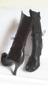 Parisi & Nadalini Italian Leather wrap around laces black women boots