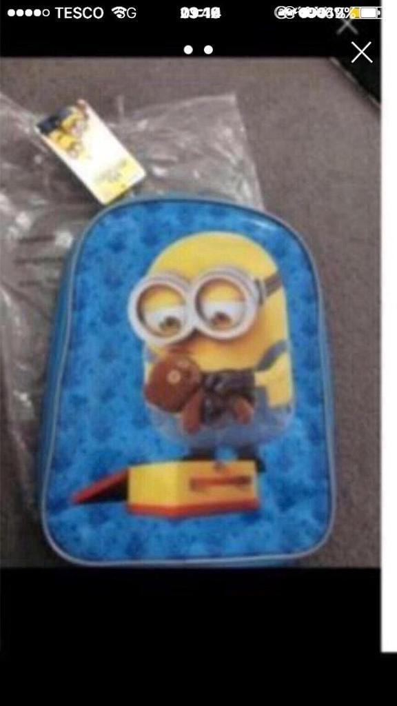 Minions packed lunch box and backpack
