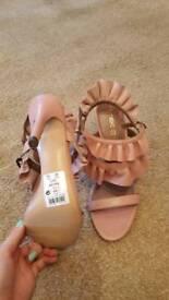 Brand new pink ruffle heels 6.5