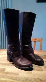 WOMENS 7.5 D CLARK'S BROWN REAL LEATHER KNEE HIGH BOOTS