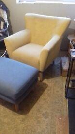 Yellow chair amd foot stool