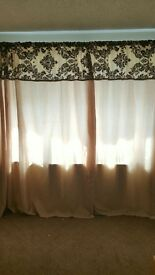 90x90 cream and brown flocked curtains
