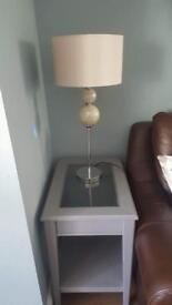 Grey side tables and tv unit