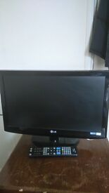 Lgv flatscreen tv, 21 inches and a brand new remote control with batteries.
