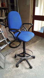 Office chairs - red, blue, black
