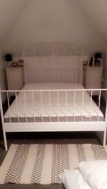 Ikea white double bed frame and mattress for sale (6m old)