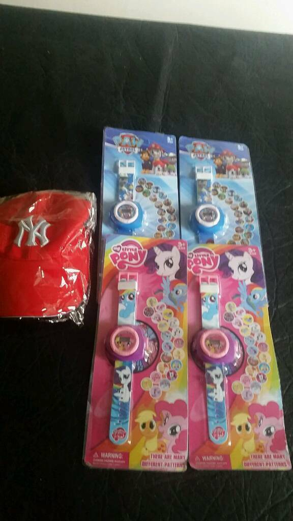My little pony.paw patrol projection watches ..ny hat