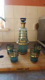 1970s vintage blue& gold decanter and glasses