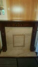 Mahogany marble effect fireplace and harth