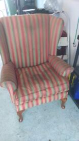 Winged back chair. Needs recovered