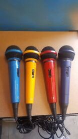 Four 4 Coloured Microphones. Ideal for DJ Disco Karaoke Band Party