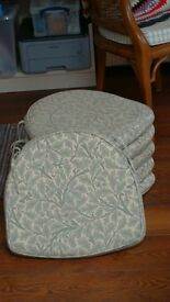 6x Sanderson fabric covered chair cushion pads