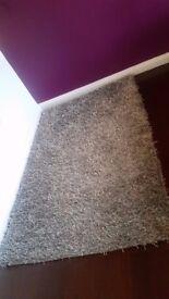 Grey/silver large shaggy rug