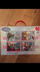 4 x Frozen puzzles in box with carry handle age 4+ perfect condition. Drayton