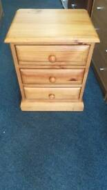 3 Drawer Pine Bedside