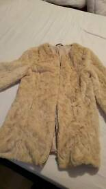 Faux fur cream jacket