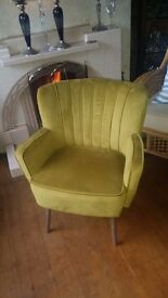 Lime green contemporary bucket/tub-shaped armchair
