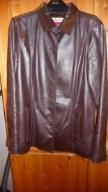 MONSOON BROWN LEATHER JACKET SIZE 12 AS NEW
